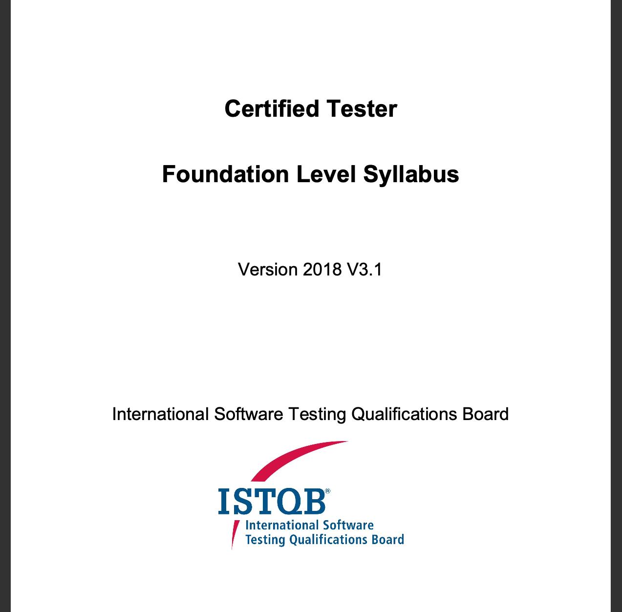 ISTQB FL Syllabus (v. 2018)