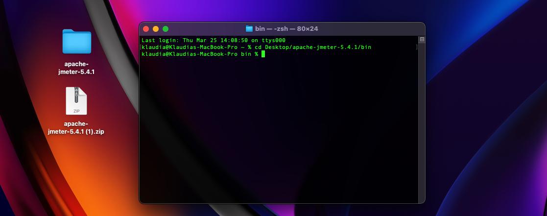 Command: cd Desktop/apache-jmeter-5.4.1/bin has been entered.