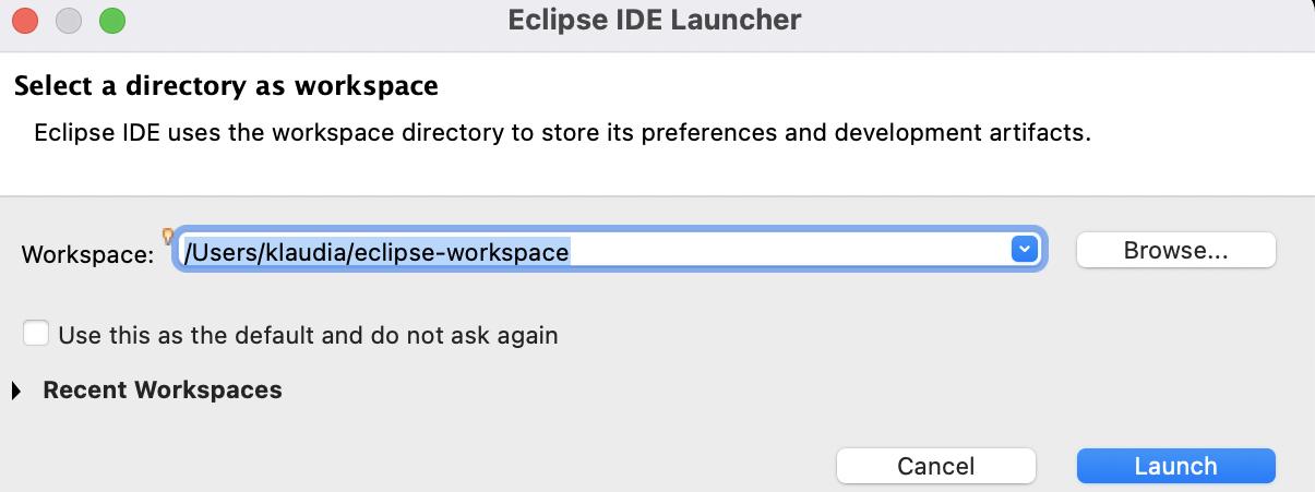 Choosing eclipse workspace