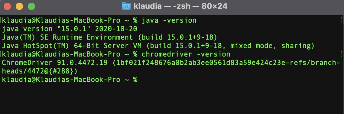 Chromedriver version checked