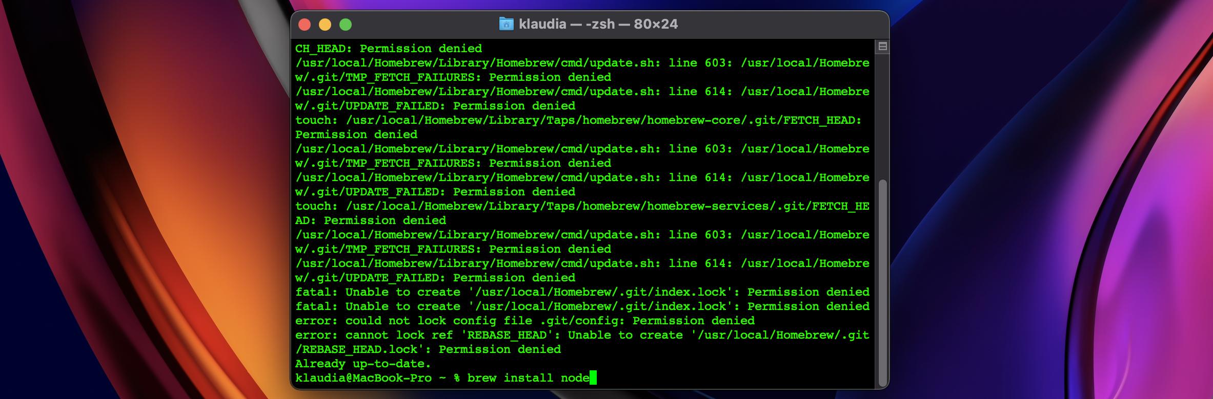 brew install node command entered