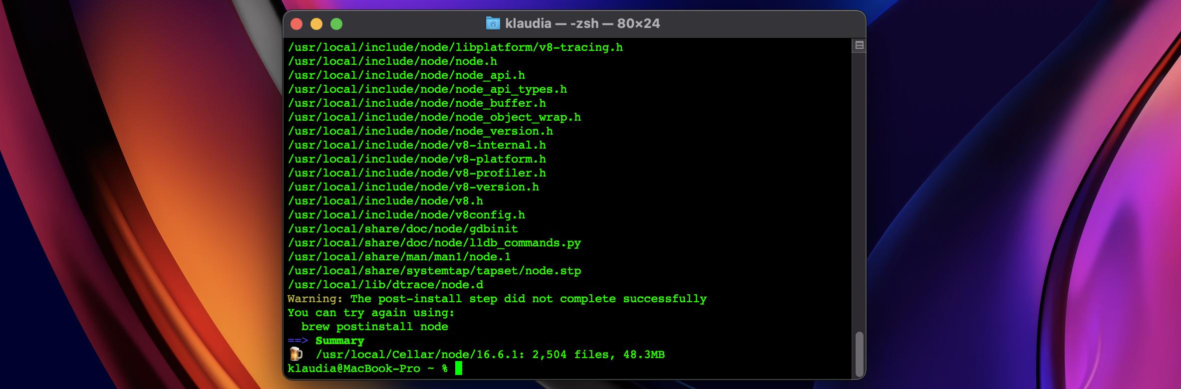 brew install node output