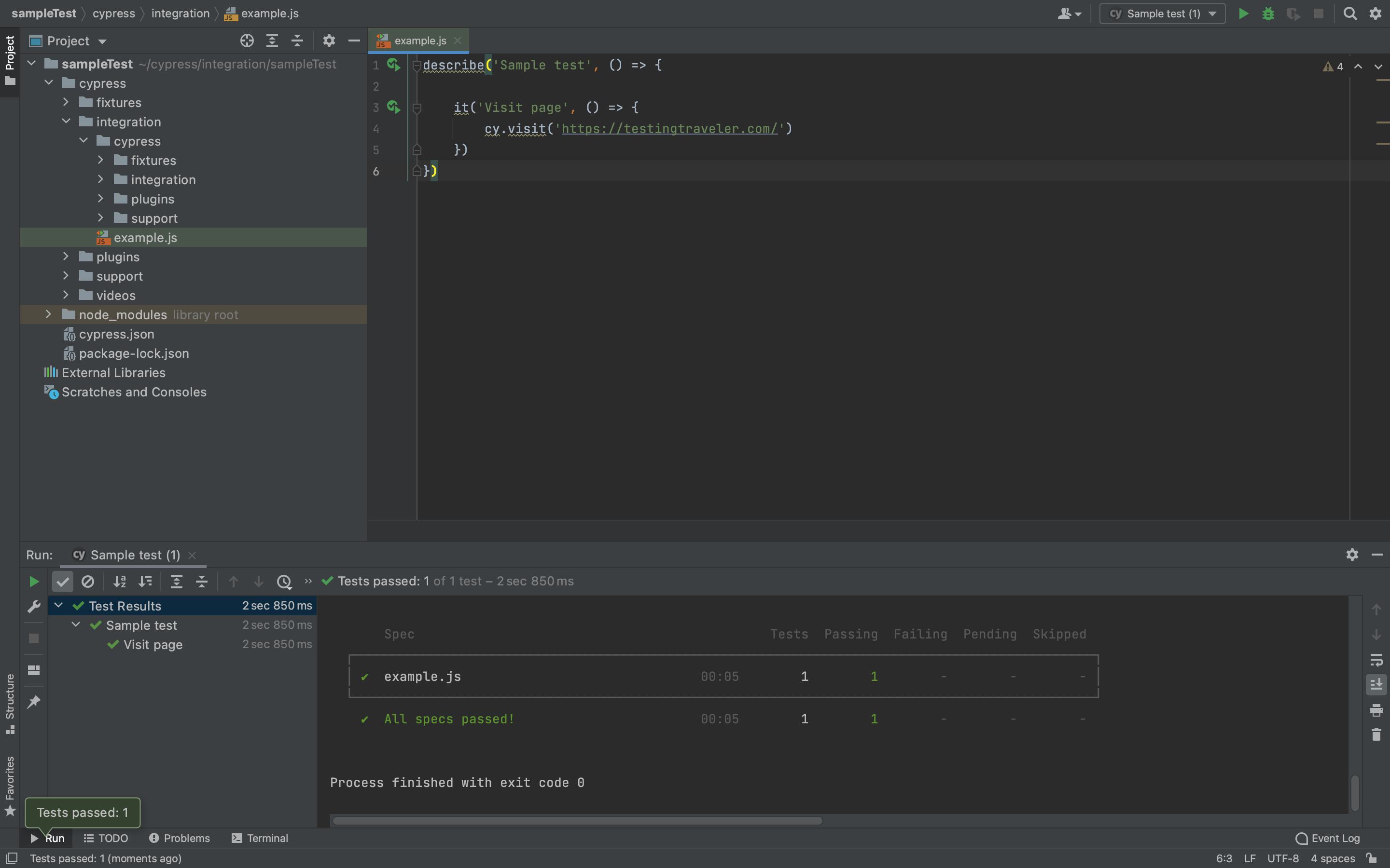 Test executed in IDE