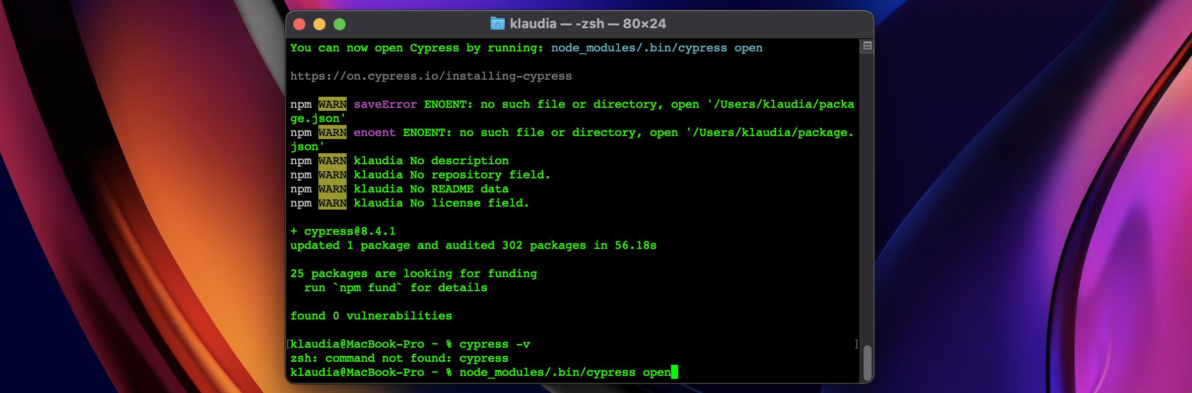 node_modules/.bin/cypress open command in terminal