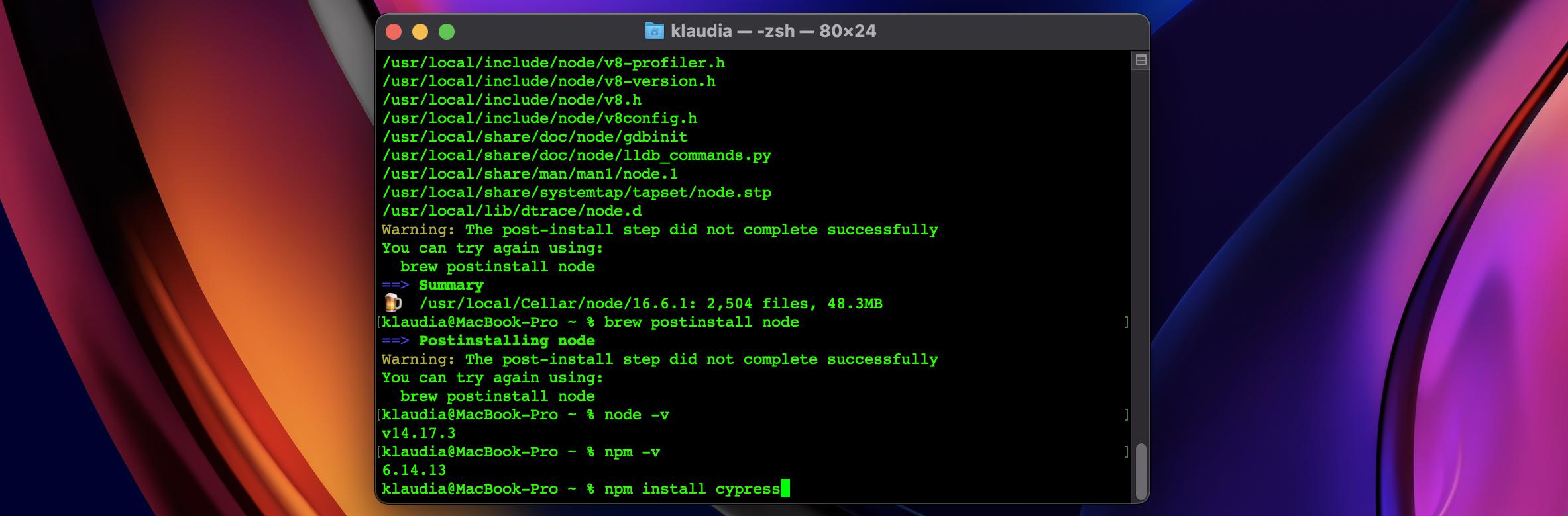 npm install cypress command